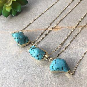 Boho Raw Turquoise Stone Pendant 14K Gold Necklace